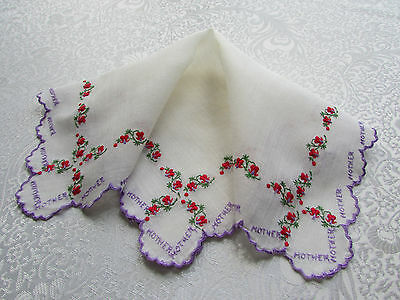 """Vintage Cream Hankie with Embroidered """"Mother"""" Purple Edge & Red Flowers"""