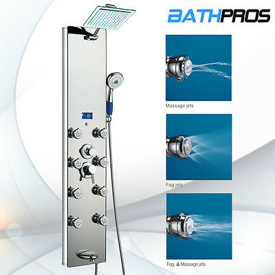 """Bathroom Jet Silver 51""""Tempered Glass Rainfall Head Shower Panel Spout Tub Tower"""