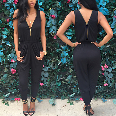 New Women Zipper V Neck Party Clubwear Playsuit Bodycon Jumpsuit Romper Trousers