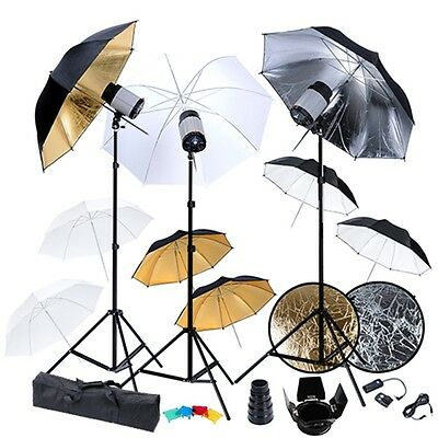 Photo Studio 3 x 120W Flash Strobe Light Trigger Set Umbrella Stand Lighting Kit