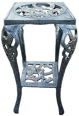 Metal Hummingbird Bird Table Plant Stand Pewter Cast Iron Garden Display