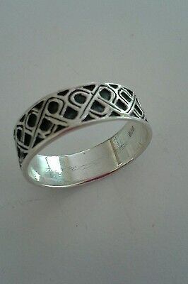 Solid Sterling Silver Celtic Knot Band Ring - Men/ Women Irish Jewelry Size 15