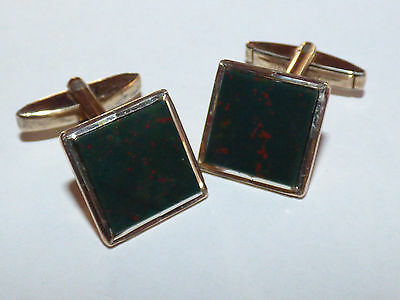 Beautiful 1950's 9CT Gold on Silver Genuine Bloodstone Agate Cufflinks