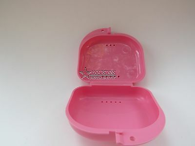 1 Dental Storage Container Ortho Retainer Box Mouthguard Denture Case PINK