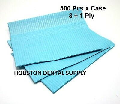 "500 Disposable Dental Tattoo Bibs 3+1 Ply Tissue Towel 13""x18"" BLUE COLOR"