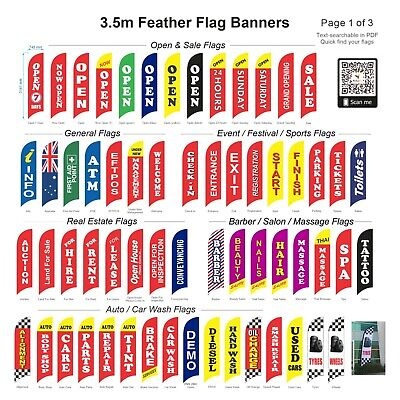3.5m Advertising Replacement  Flag / Feather Flag (Excl. Pole & Base)-Ship Today