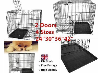 """24""""30""""36""""42""""Folding Dog Cage Pet Puppy Crate Travel Carrier Training & Sleeping"""