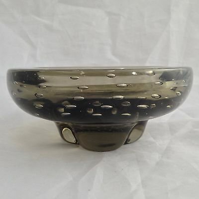 Whitefriars 9294 -  SMOKED GREY Lobed Bowl with Encased Bubbles (circa 1957)