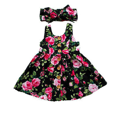 Toddler Infant Kids Baby Girls Summer Floral Dress Princess Party Dresses 0-4Y