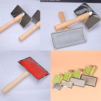Dog Cat Hair Brush Wooden Handle Pet Grooming Fur Cleaning Tool Stainless Steel