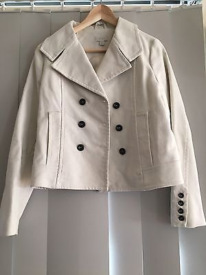 Ojay Cropped Double Breasted Cream Jacket With Black Buttons, Size 8