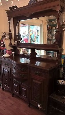 Large Victorian Style Mahogany Dresser Sideboard with Mirrors