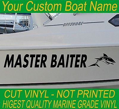 Custom Fishing BOAT NAME SHARKS Marine Vinyl Cabin Hull Stickers 850mm applied