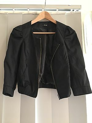 Bardot Cropped Bomber Style Jacket, With Cropped Sleeves, Black, Size 8