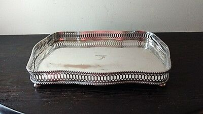 """P S Co. Silver-plate on Copper Pierced Gallery Tray 12"""" x 8"""" Sheffield England"""