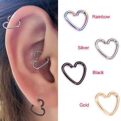 2PC Surgical Steel Heart Ring Piercing Hoop Earring Helix Cartilage Tragus Daith