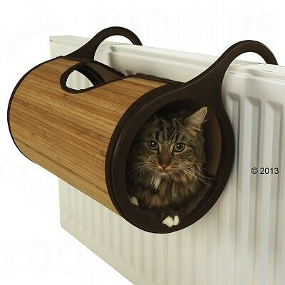 Cat Radiator Bed Brown Bamboo Tunnel Cave House Kitten Soft Plush Cushion Cats