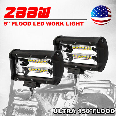Pair 5inch 288W CREE Flood Beam LED Work Light Bar Offroad 4WD Work Driving Lamp