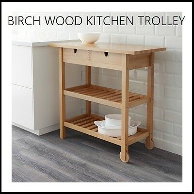 Ikea Wooden Kitchen Trolley Island Bench Shelf Wood Wheels Drawers Storage