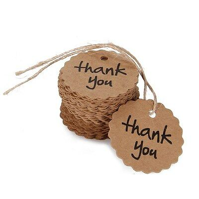 100pcs Thank You Wedding Party Price Tag Brown Kraft Paper With Elastic String