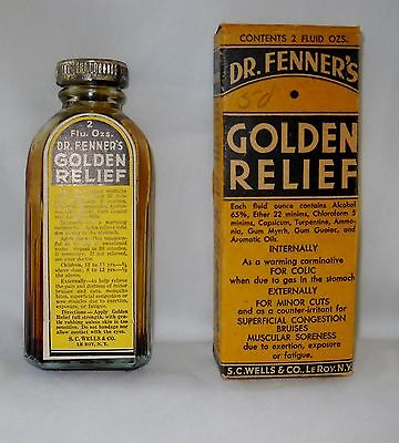 Antique medicine bottle, Dr. Fenner's Golden Relief w original box