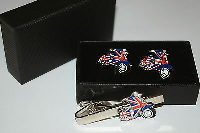 Scooter/Lambretta/MOD Cufflinks and Tie Clip Set Gift Enamel Union Jack Wedding