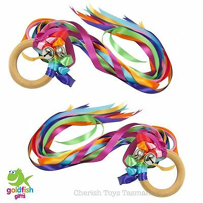 Creative Play 2x Rainbow Dancing Ribbons Natural Wooden Steiner Kids Toys Bells