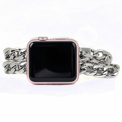 For Apple Watch Bracelet Band Silver Stainless Steel iWatch Chain Band