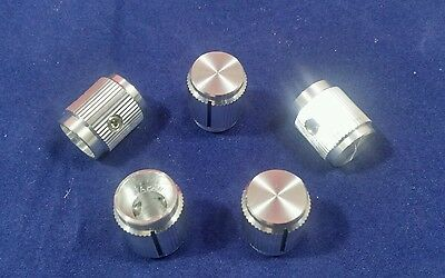 """5 Alco knob KN-500A 1/4"""" shaft Silver Aluminum Knobs Made in Japan switch knob"""