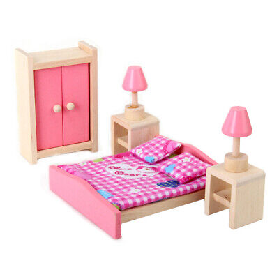 Wooden Dollhouse Furniture Bedroom 5PC Bed pillow wardrobe bedside lamp pink