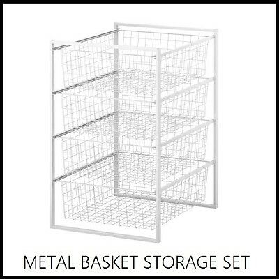 Ikea Metal Basket Drawers Wardrobe Storage Set Cabinet Shelf Shelving Wire Bins