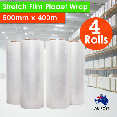 4x Rolls 500mm x 400m 20UM CLEAR Stretch Film Pallet Wrap Carton Wrapping Shrink