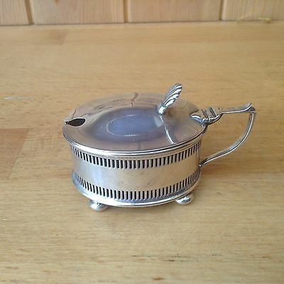 Antique Solid Sterling Silver Birmingham 1912 Mustard Pot With Blue Glass Inner