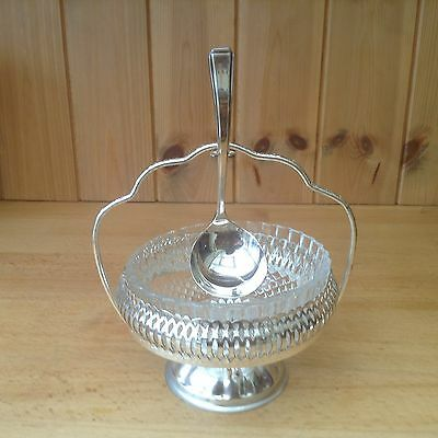 Vintage Glass Dish On A Silver Plated Stand
