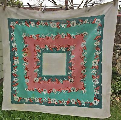 Cottage Vintage Pink Green & white Morning Glory Tablecloth approx. 36.5 x 34