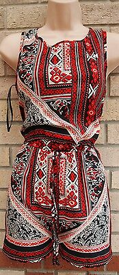 Primark Black Red White Tribal Zip Caged Back Playsuit All In One Jumpsuit 8 S