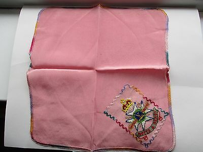 Ww1 Sweetheart Embroidered Silk Handkerchief - Sherwood Foresters Notts & Derby