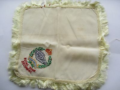 Ww1 Sweetheart Embroidered Silk Handkerchief - Royal Tank Regiment