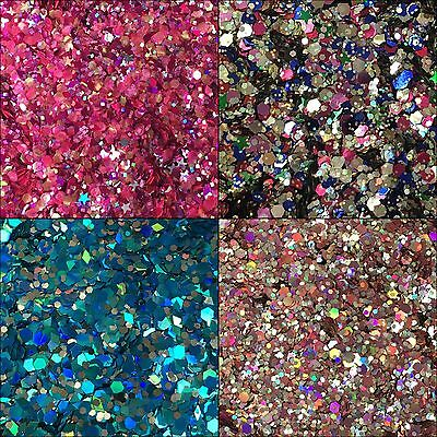Festival Body Hair Nail Art Glitter 6g bag Chunky Holographic Mixes