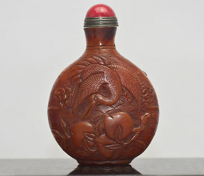 Old collection China Masters Hand-carved Hok snuff bottle Qing