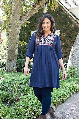 NAVY Plus Size Women Embroidered Loose Tunic Casual Mini Dress 1X 2X 3X 4X NEW