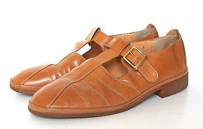 UK 7.5 / 8  Vintage T-Bar Shoes - 1980s Tan Brown Leather - 40.5 /41