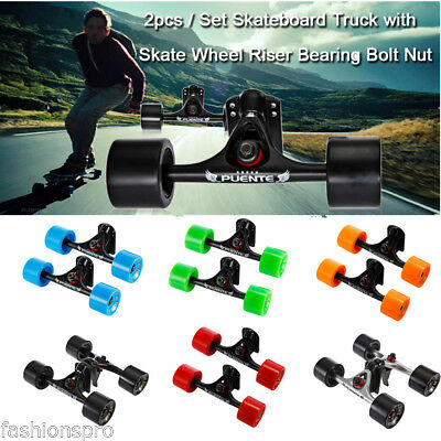 2pcs / Set Skateboard Truck with Skate Wheel Riser ABEC - 9 Bearing Bolt Nut