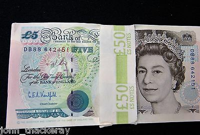 10 George Stephenson  £5 Banknotes 1990 Crisp Uncirculated Consecutive Numbers
