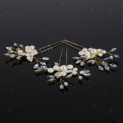 3Pcs Crystal Rhinestone Wedding Flower Pearl Hair Clip Hair Pin for Bridal