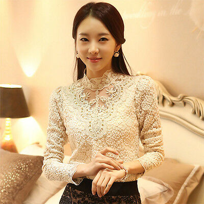Elegant Women Blouses Lace Splice Hollow Stand Collar Long Sleeve Blouse