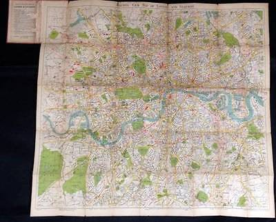 Antique Bacons Gem Map of London and Suburbs Folding Coloured