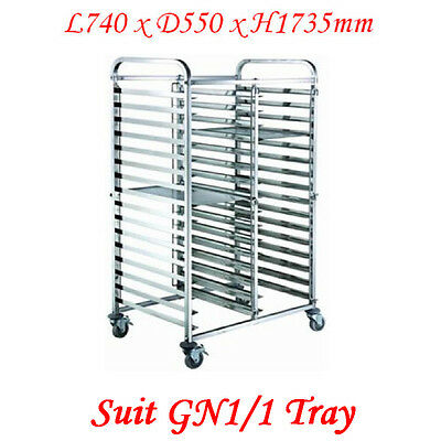 Stainless Steel 2x15 Tier Gastronorm Tray Trolley (ZY334) suit 1/1 tray