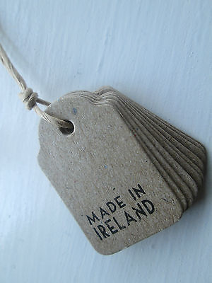 MADE IN IRELAND tags x 10 vintage style for crafts & gifts