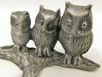 Pewter Owls on a Limb Micro-Statue